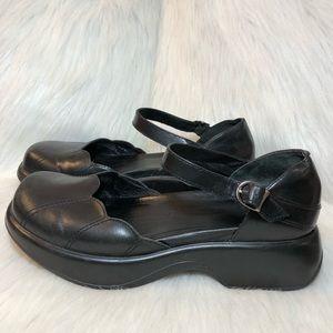 Dansko Black Leather Mary Jane clogs